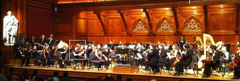 Annie Ryu playing in Harvard Radcliffe Orchestra (see box)